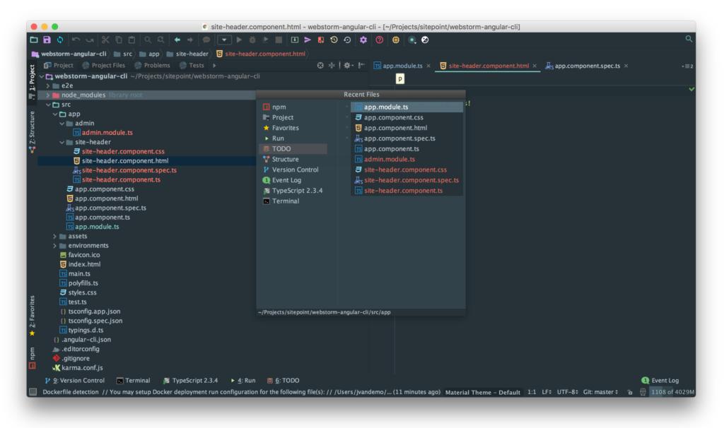 WebStorm and Angular: Recent files