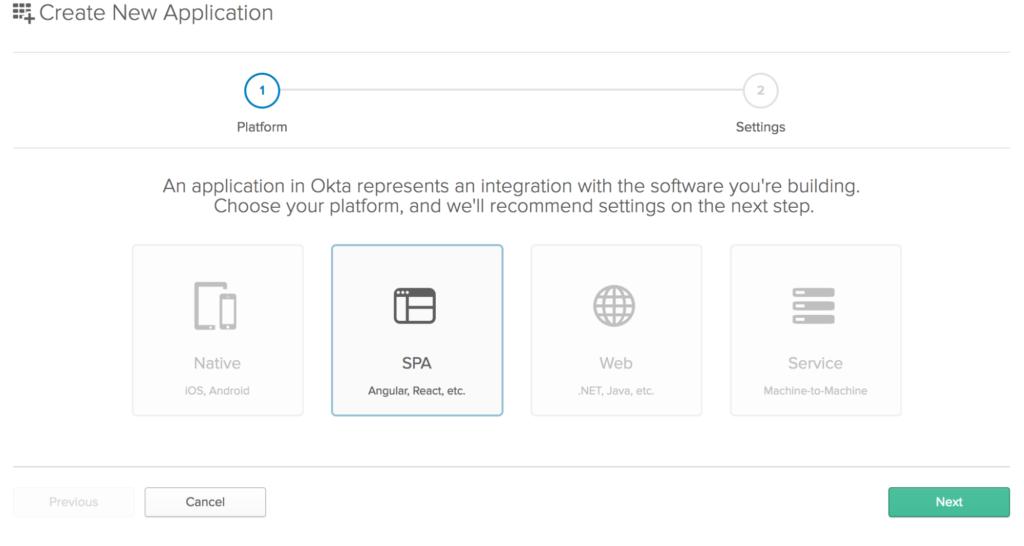 Create Application Screen