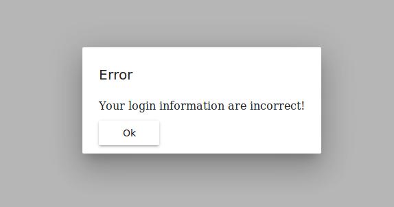 A screenshot of the error dialog