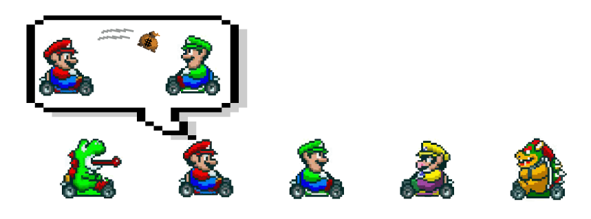 Mario sending money to Luigi and yelling it out