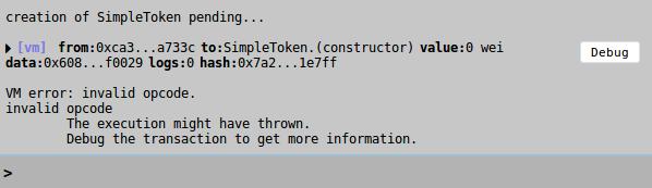 Invalid opcode error