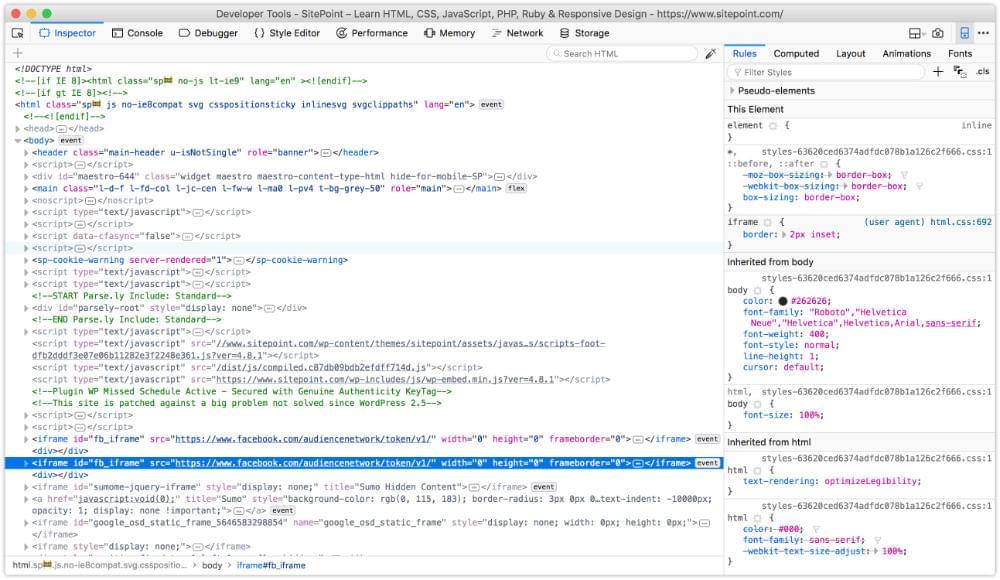 The developer tools of Firefox Developer Edition