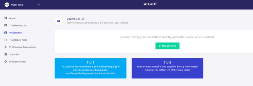 The Weglot visual editor