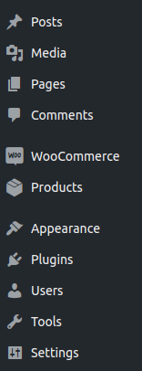 WooCommerce in the admin panel