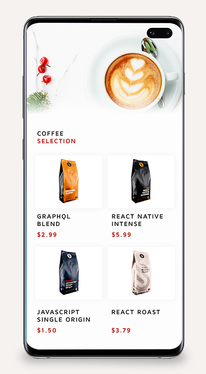 A mockup of our coffee comparison app