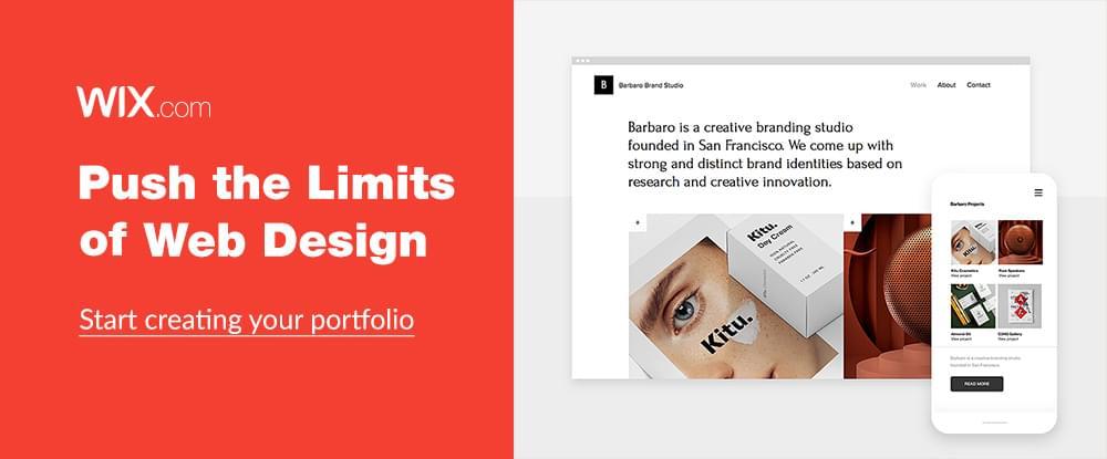 Start creating your portfolio with Wix