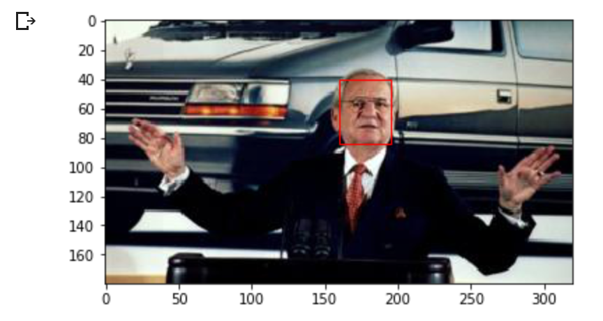 Detected face in an image of Lee Iacocca