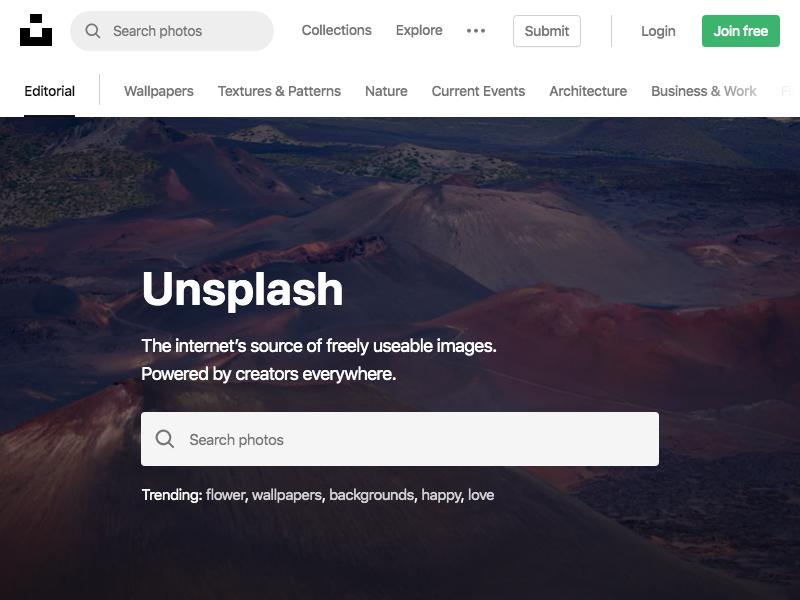 Unsplash - 800px x 600px resolution
